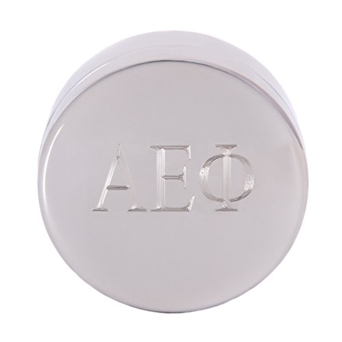 Alpha Epsilon Phi Round Engraved Letter Pin Box Sorority Greek Decorative Case Great for Rings, Badges, Jewelry