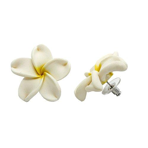 Hawaiian Jewelry Fimo White Plumeria Flower Earrings - (Hawaii Plumeria Earrings)