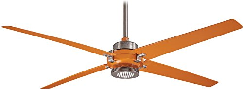 Minka-Aire F726-BN ORG, Spectre 60 Ceiling Fan with LED Light, Brushed Nickel Finish with Orange Blades
