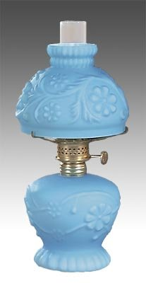 B&P Lamp Amethyst Glass Mini Daisies & Vine Lamp