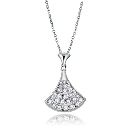 - Girls Jewelry by CS-DB Inlay Shining Clear Zircon Triangle Silver Pendants Necklaces