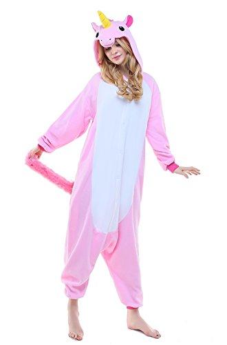 NEWSIAMESE Adult Halloween Unicorn Cosplay Pajama Unisex Youth Costume (S(Suitable for:59-64in.), Pink Unicorn)