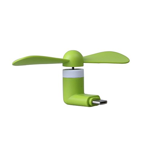 I-Sonite (Green) Mobile Cell Phone Portable Pocket Sized Fan Accessory Type C Connector For LG X venture (Venture Mobile)