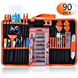 GANGZHIBAO 90pcs Electronics Repair Tool Kit Professional, Precision Screwdriver Set Magnetic for Fix Open Pry Cell Phone, Apple iPhone, Computer, PC, Laptop, Tablet, iPad, Macbook with Portable Bag ()
