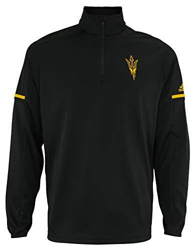 adidas Men's NCAA Team Logo 1/4 Zip Pullover, Arizona State Sun Devils-Black Large
