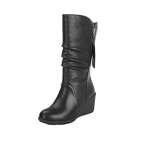 Boots Warm Ladies Fcostume Black Heel 37 Wedges Black Winter Zipper High Shoes Women Boots Ankle Autumn 7Anwqp