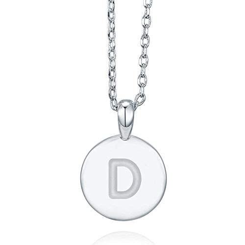 (PAVOI 14K White Gold Plated Letter Necklace for Women | Gold Initial Necklace for Girls | Letter D)