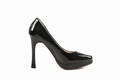Charm Foot Womens Modern Stylish Platform High Heel Pumps Shoes Black HZVU0SbA