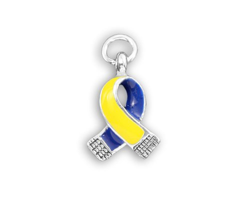 (Small Blue and Yellow Ribbon Charm in a Bag (Retail))