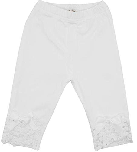 Kids Lace Bottom Big Ruffle Capri Pants Spring Summer Clothes Outfit, White 4T