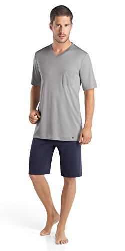 HANRO Men's Night and Day Short Sleeve Pajama Set, Mineral, Medium ()