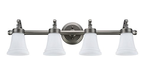 Aspen Creative 62067, Three-Light Metal Bathroom Vanity Wall Light Fixture, 30 1 2 Wide, Transitional Design in Rustic Pewter with White Opal Glass Shade