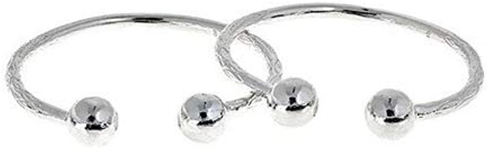 Better Jewelry Huge Ball Ends West Indian Bangles .925 Sterling Silver 130.00 Grams (Pair) (Made in USA)