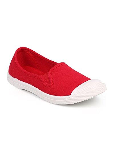 Vild Diva Df45 Kvinnor Canvas Cap Toe Klassiskt Slip På Mode Sneaker - Röd
