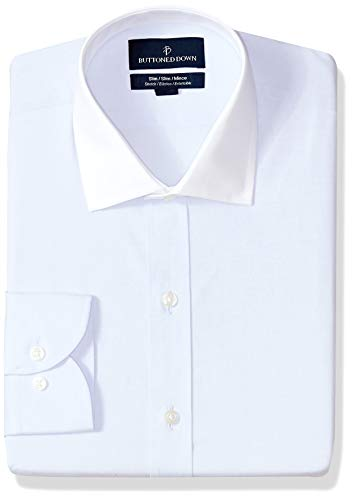 (BUTTONED DOWN Men's Slim Fit Stretch Poplin Non-Iron Dress Shirt, Light Blue/White Collar, 15.5