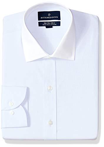BUTTONED DOWN Men's Slim Fit Stretch Poplin Non-Iron Dress Shirt, Light Blue/White Collar, 15.5