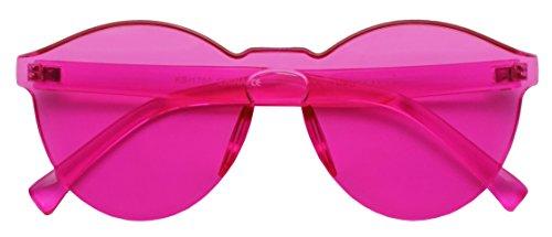 Colorful Bold Oversize One Piece Mono Block Full Shield Rimless Color Sunglasses (Magenta (Round), - Mono Lens