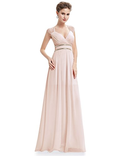 Ever-Pretty Womens Chiffon Sleeveless Beaded Empire Waist Prom Dress 16 US Nude