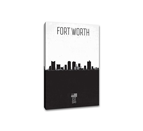 Fort Worth - Distressed Skyline Art - 16x24 Gallery Wrapped Canvas Wall Art B&W