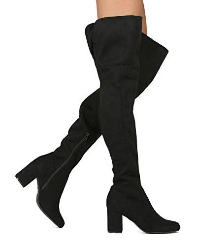 Alrisco Kvinnor Lår Hög Ridstövel - Över Knäet Blocket Hälen Boot - Mångsidig Dressat Avslappnad Vardag Bekväm Otk Boot - He45 Av Vilda Diva Samling Svart Faux Mocka