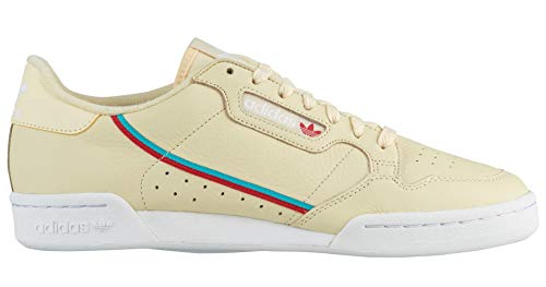 - adidas Men's Originals Continental 80 Mist Sun/Hi-Res Aqua/Scarlet Leather Casual Shoes 9 M US