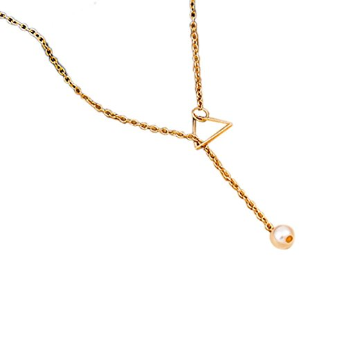Necklace, Hatop Women Fashion Popular Hollow Triangle Pearl Pendant Necklace (Gold)