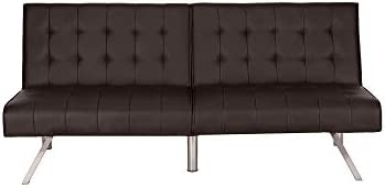 Supernon Mainstays Faux Leather Tufted Convertible Futon, Brown