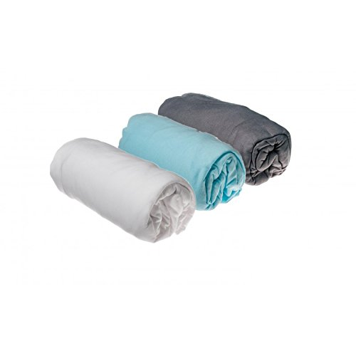 70x140 gris blanc turquoise Lot de 3 draps housse Coton