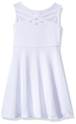 Bonnie Jean Girls' Big Fit and Flare Fashion Dress, Bright White, 14]()