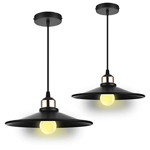 Classic Style Pendant - Classic Industrial Modern Style Pendant Lamp Loft High Ceiling Lighting Hanging Fixtures, in Matte Black Metal Shade, E26 Medium Screw Socket, Dining Room, Kitchen Island Bar Accent Light (Pack of 2)