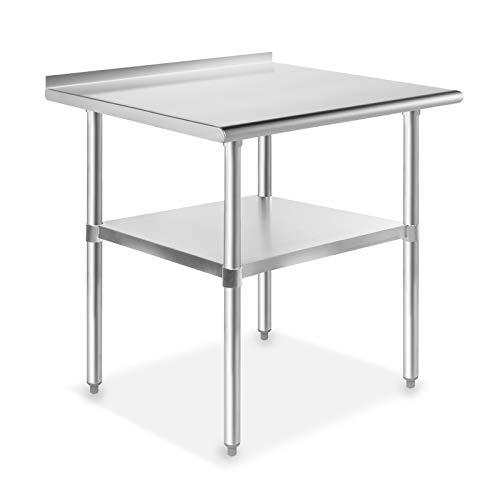GRIDMANN NSF Stainless Steel Commercial Kitchen Prep & Work Table w/Backsplash - 30 in. x 24 - 24 Kitchen Backsplash Inch