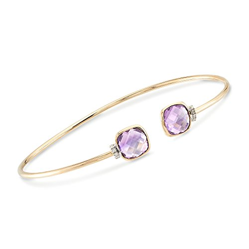 Ross-Simons 3.90 ct. t.w. Amethyst Cuff Bracelet in 14kt Yellow Gold -