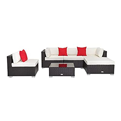 "Welpatio 6-Piece Patio Furniture Sectional Sofa Conversation Set Outdoor Rattan Wicker Furniture with Cushion& Three Pillows for Patio, Pool, Garden - 【Humanized No-Screws Design】- Which are connected with buckle and clips, time-saving easily assembly(NOTE: Total 5 shipping cartons, may be separated by Fedex while shipped to you from our warehouse in Atlanta, if there is any part missing or damaged during shipping, please contact us). 【High Quality Material】- Made of high-performance rust-prevention steel frame and all weather resistant PE rattan wicker; Thick back cushion covers is water-proof and easy-removed. 【Flexible Combination】- This 6-piece patio set sectional furniture contains 2 corner sofas, 2 middle sofas 1 footrest, 1 coffee table, which can have many configuration options based on your preference and placed position, such as the Chaise Longue can be specially constructed by 1 corner sofa, 1 footrest and a full size cushion (58.2""L*31.5""W*3.9""H). - patio-furniture, patio, conversation-sets - 312TlsK9JbL. SS400  -"
