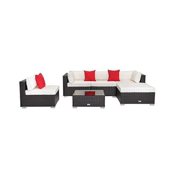 """Welpatio 6-Piece Patio Furniture Sectional Sofa Conversation Set Outdoor Rattan Wicker Furniture with Cushion& Three Pillows for Patio, Pool, Garden - 【Humanized No-Screws Design】- Which are connected with buckle and clips, time-saving easily assembly(NOTE: Total 5 shipping cartons, may be separated by Fedex while shipped to you from our warehouse in Atlanta, if there is any part missing or damaged during shipping, please contact us). 【High Quality Material】- Made of high-performance rust-prevention steel frame and all weather resistant PE rattan wicker; Thick back cushion covers is water-proof and easy-removed. 【Flexible Combination】- This 6-piece patio set sectional furniture contains 2 corner sofas, 2 middle sofas 1 footrest, 1 coffee table, which can have many configuration options based on your preference and placed position, such as the Chaise Longue can be specially constructed by 1 corner sofa, 1 footrest and a full size cushion (58.2""""L*31.5""""W*3.9""""H). - patio-furniture, patio, conversation-sets - 312TlsK9JbL. SS570  -"""