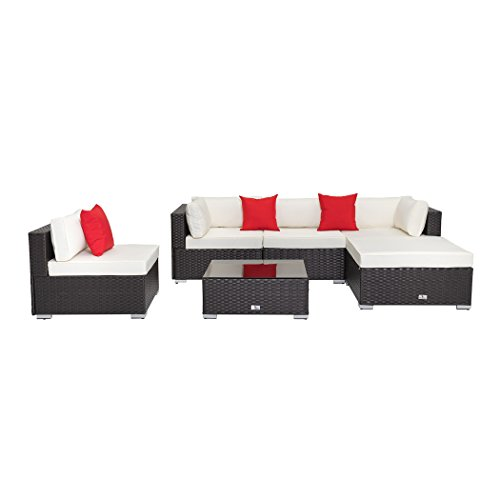 Welpatio 6-Piece Outdoor Sectional Patio Set All-Weather Dark-Coffee Rattan Wicker Furniture with Cushion& Pillows for Patio, Pool, Garden