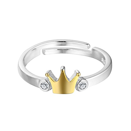 Silver Gold Plated Adjustable Crown Queen Finger Ring for (Rhinestone Crown Adjustable Ring)