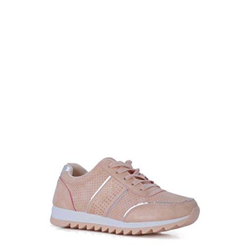 Nude Rebajas con Decoradas en Brillantes Sneakers Color Zapatillas YTwxrqTRI