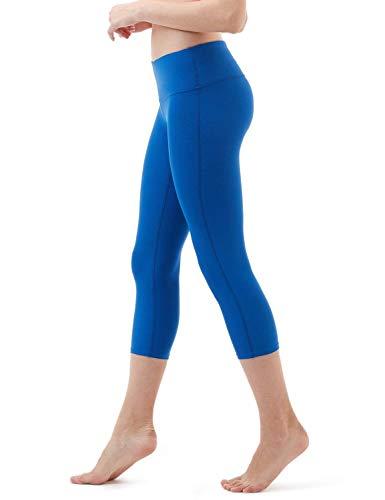 DREAM SLIM Women Middle Waist Yoga Legging Cropped Pants Five Colors S M L XL (Winter Blue, X-Large)