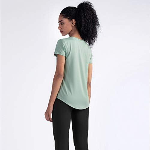 ヨガタンクトップ、2 PCラウンドネッククイック乾燥実行フィットネス運動半袖Tシャツ通気性のヨガの服レディース,E,XL