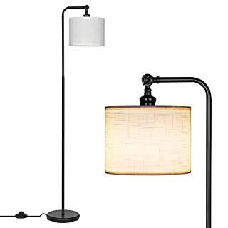 DEWENWILS 63 inch Black Floor Lamp with White Linen Drum Shade, Adjustable Lampshade, Standing Tall Lamp for Living Room, Bedroom, Office, Simple Design Farmhouse Style