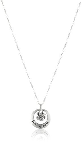 Disney Sterling Silver Circle with Flower Youre My Ohana Pendant Necklace, 18