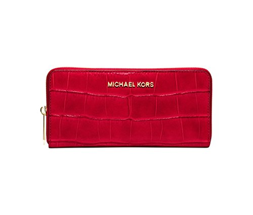 Michael Kors Jet Set Travel Zip Around Continental Wallet CHILI by Michael Kors