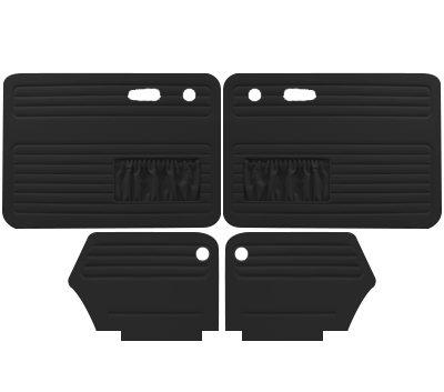 VW Door Panels, Full Set w/ Front Pockets, Black Smooth Vinyl, Beetle/Super Convertible 1967-1972 (Panels Door Front Tmi)