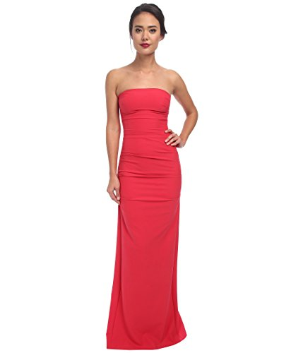 Nicole Miller Women's Felicity Techy Crepe Strapless Gown Dress, watermelon, 0 ()