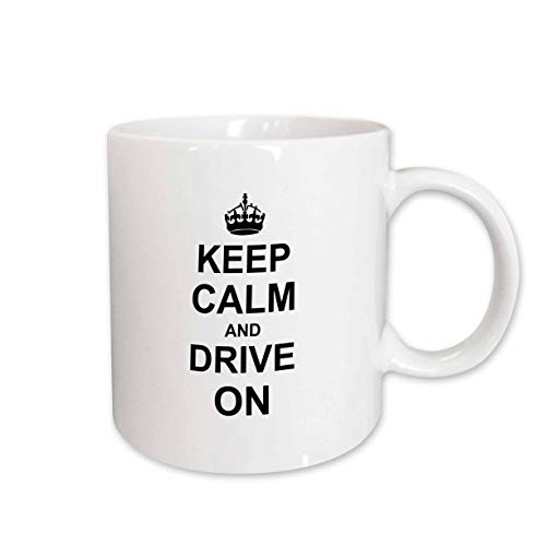 3dRose mug_157714_1 Keep Calm and Drive on Carry on Driving Gift for Taxi Bus Race Car Pro Drivers Fun Funny Humor Ceramic Mug, 11-Ounce