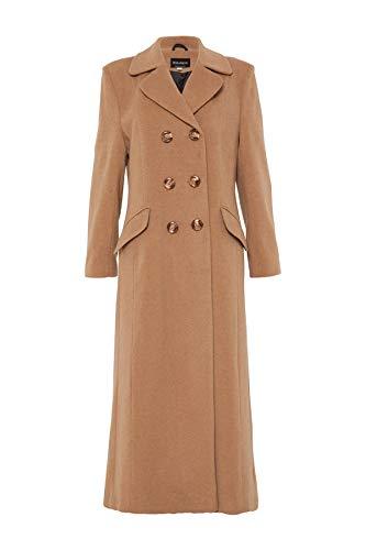 De la Crème Women`s Double Breated Fitted Long Coat Size 14, Camel