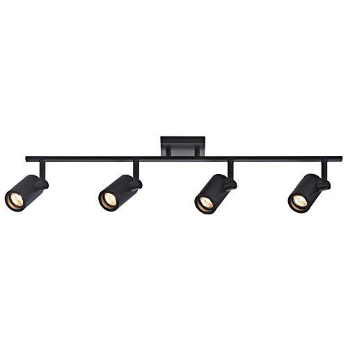Track Light with 4 Cylinder Spot Lights - Black - GU10 Base