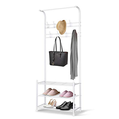 (alvorog Entryway Coat Rack Shoe Bench, 3-in-1 Hall Tree, 3-Tier Storage Shelves with 16 Hooks Multifunctional Hallway Organizer, Easy Assembly (White))