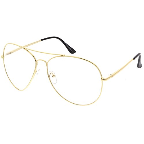 sunglassLA - Classic Oversize Aviator Glasses With Metal Double Crossbar Teardrop Clear Lens 63mm (Gold / - Aviator Sunglasses Peepers Jeepers