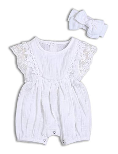 - Baby Girl Romper Bodysuits Lace Flutter Sleeveless Bowknot Jumpsuit Outfits Clothes (B-White, 0-3 Months)